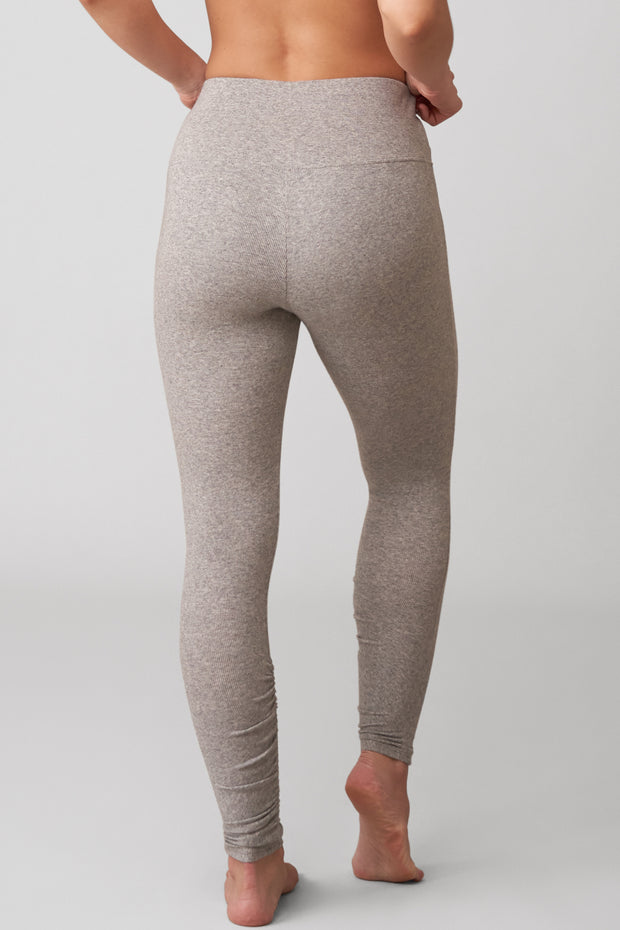 Dreamer Ribbed High-Waist Legging in Heather Grey Back View