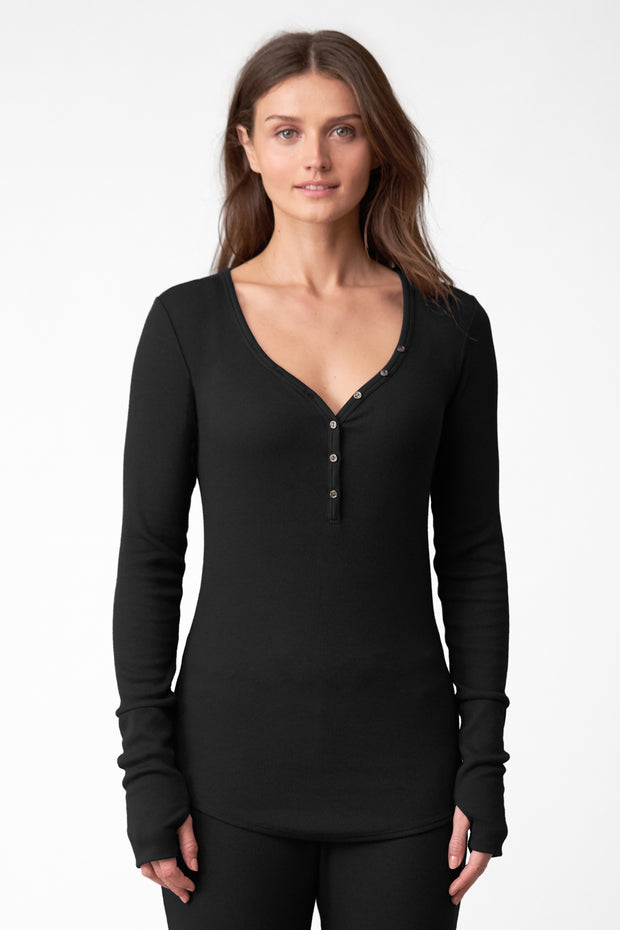 Daydream Long-Sleeve Henley in Black Front View