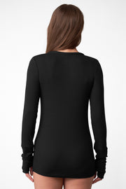 Daydream Long-Sleeve Henley in Black Back View