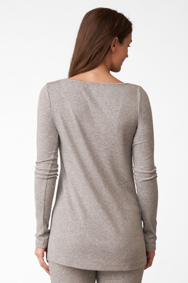 Dreamer Ribbed Longsleeve V-Neck in Heather Grey Back View