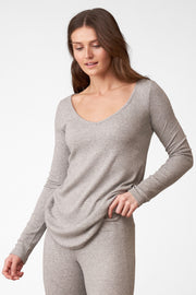 Dreamer Ribbed Longsleeve V-Neck in Heather Grey Side View