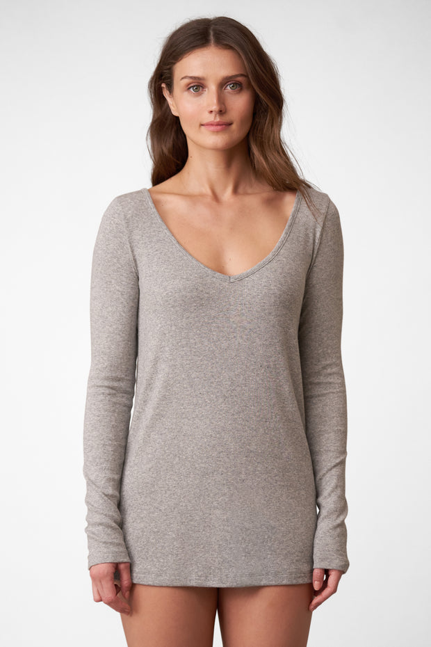 Dreamer Ribbed Longsleeve V-Neck in Heather Grey Front View