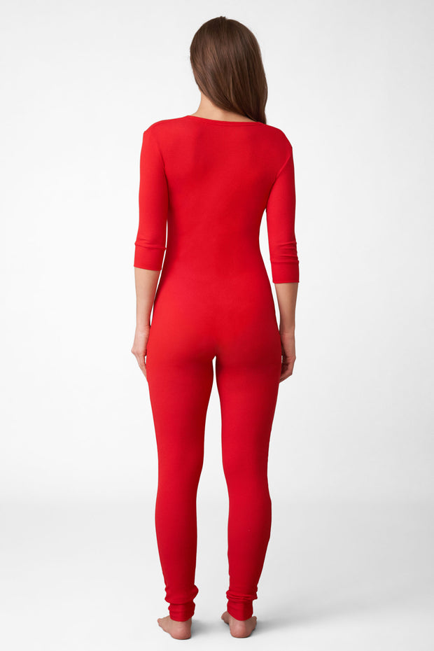 Dreamer Ribbed Onesie in Santa Red Back View
