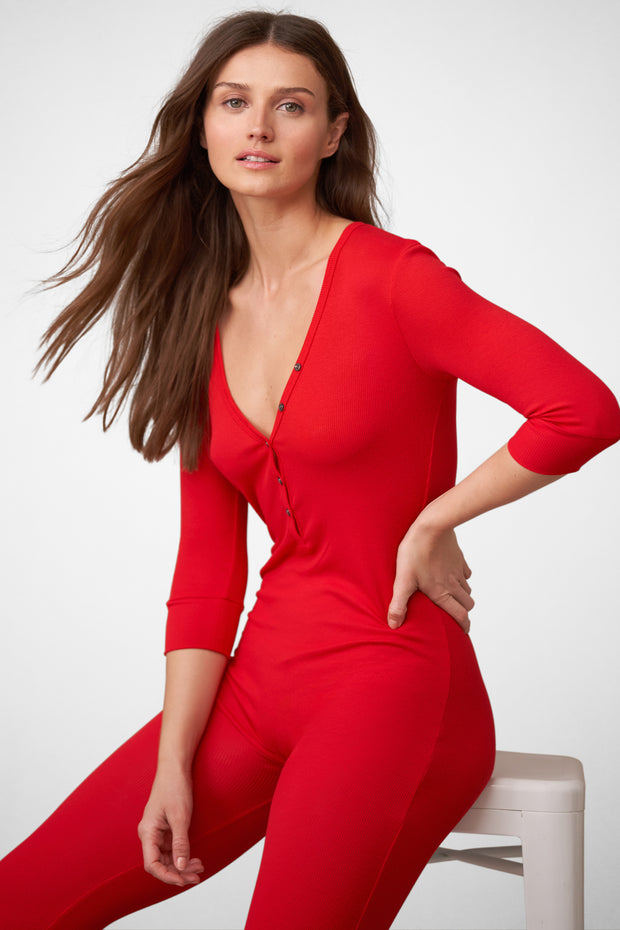 Dreamer Ribbed Onesie in Santa Red Front View