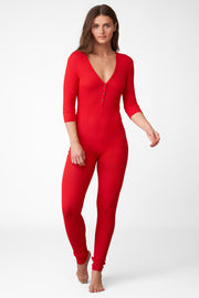 Dreamer Ribbed Onesie in Santa Red Front View 2