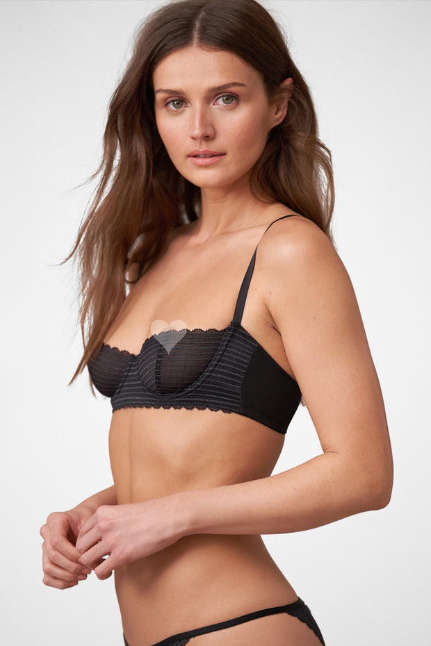 Roulette Multi-Way Unlined Balconette Bra in Black Side View