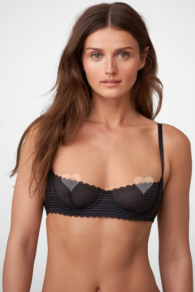 Roulette Multi-Way Unlined Balconette Bra in Black Front View