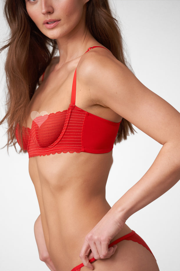 Roulette Multi-Way Unlined Balconette Bra in Heart Throb Side View