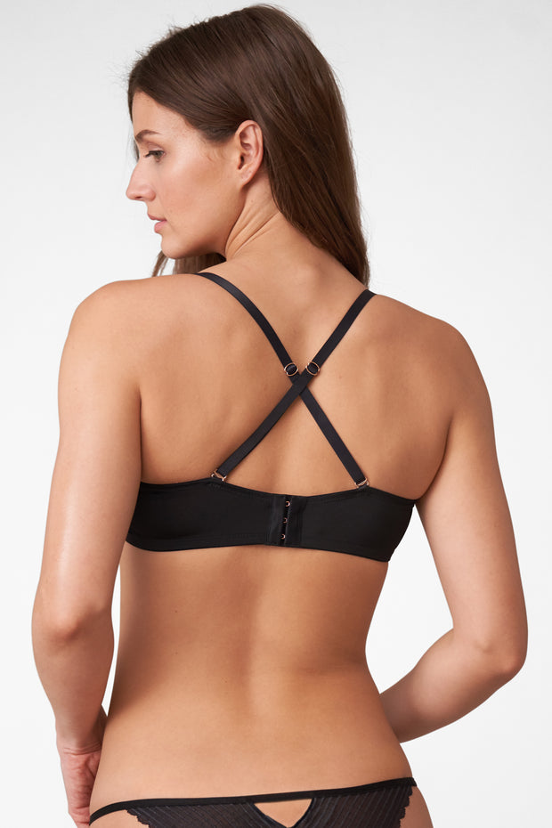 Roulette Multi-Way Unlined Balconette Bra in Black X-Back View