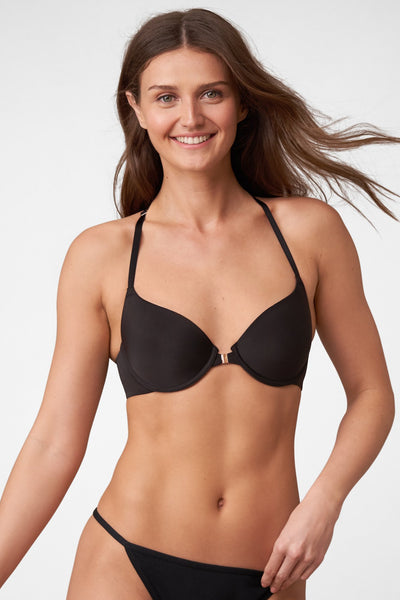 Swoon Front Close T-Shirt Bra in Black Front View