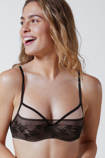 Straight Laced Balconette Underwire Bra Front in Black/Nylon Front View