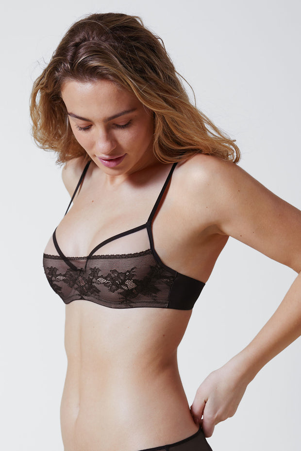 Straight Laced Balconette Underwire Bra Front in Black/Nylon Side View