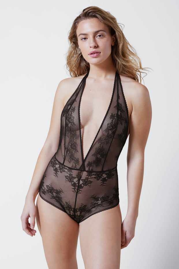 Straight Laced Bodysuit in Black Front View