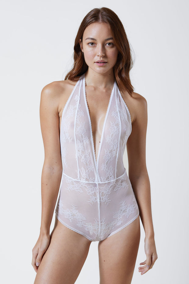 Straight Laced Bodysuit in White Front View