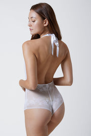 Straight Laced Bodysuit in White Back View