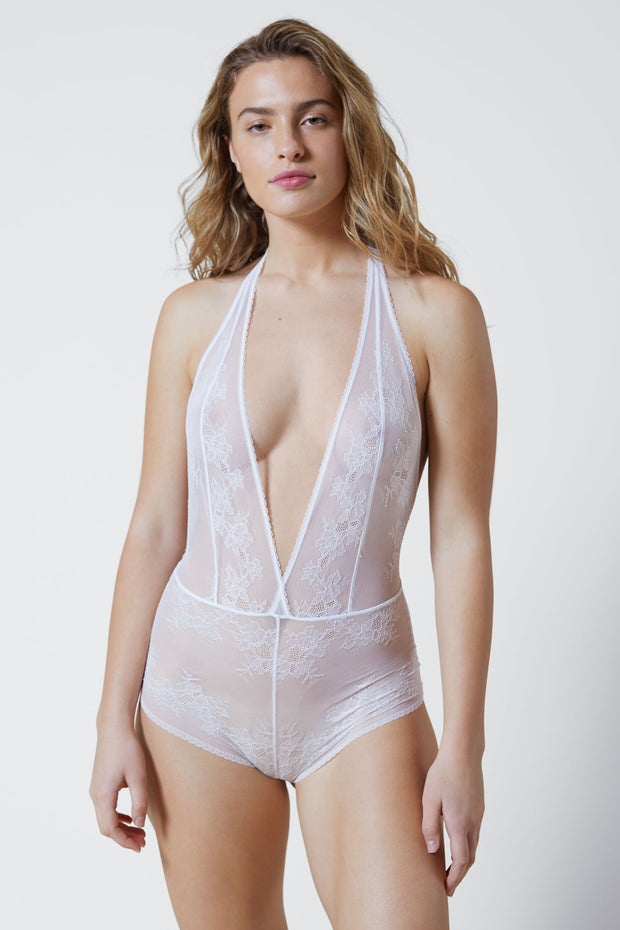 Straight Laced Bodysuit in White Front View 2