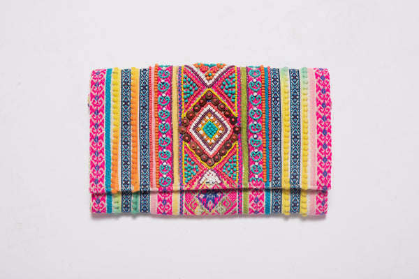 Aztec Beaded Multi Clutch