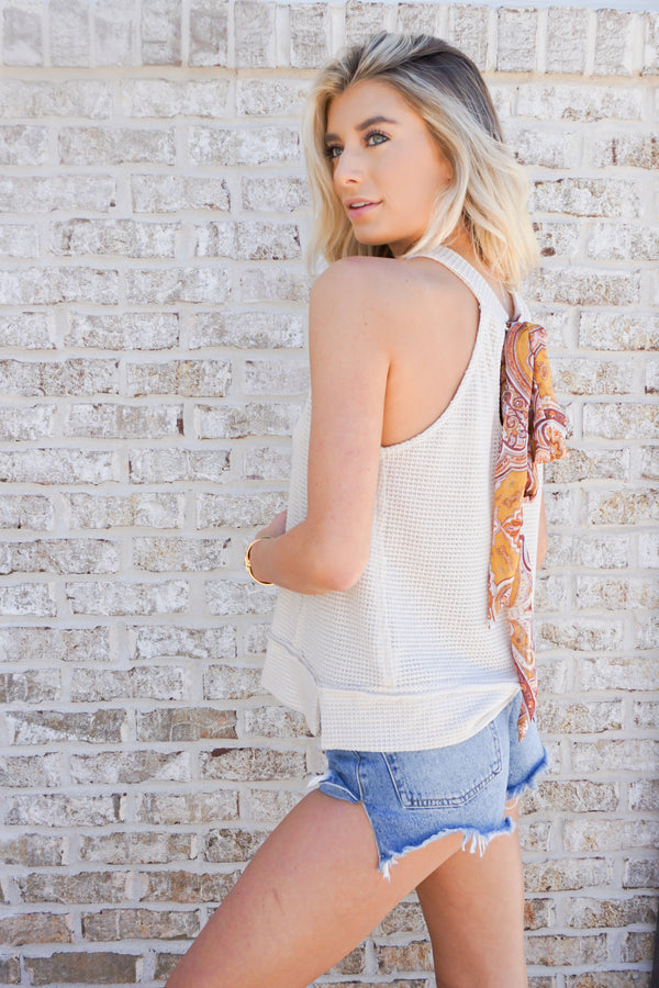 Waffle Knit Tank With Scarf Tie