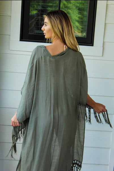 Olive French Duster