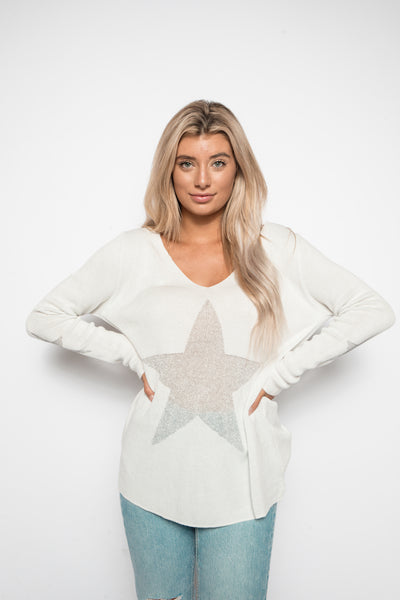 Shoot For The Stars Sweater - White