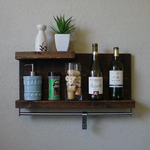 "Modern Rustic 2 Tier Spice Rack Shelf w/ 23"" Pot Rack Bar & 5 Hanging Hooks by KeoDecor"