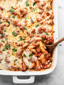 As soon as the weather turns cool, I grab the cozy sweaters and start cooking the comfort food, like this Classic Baked Ziti