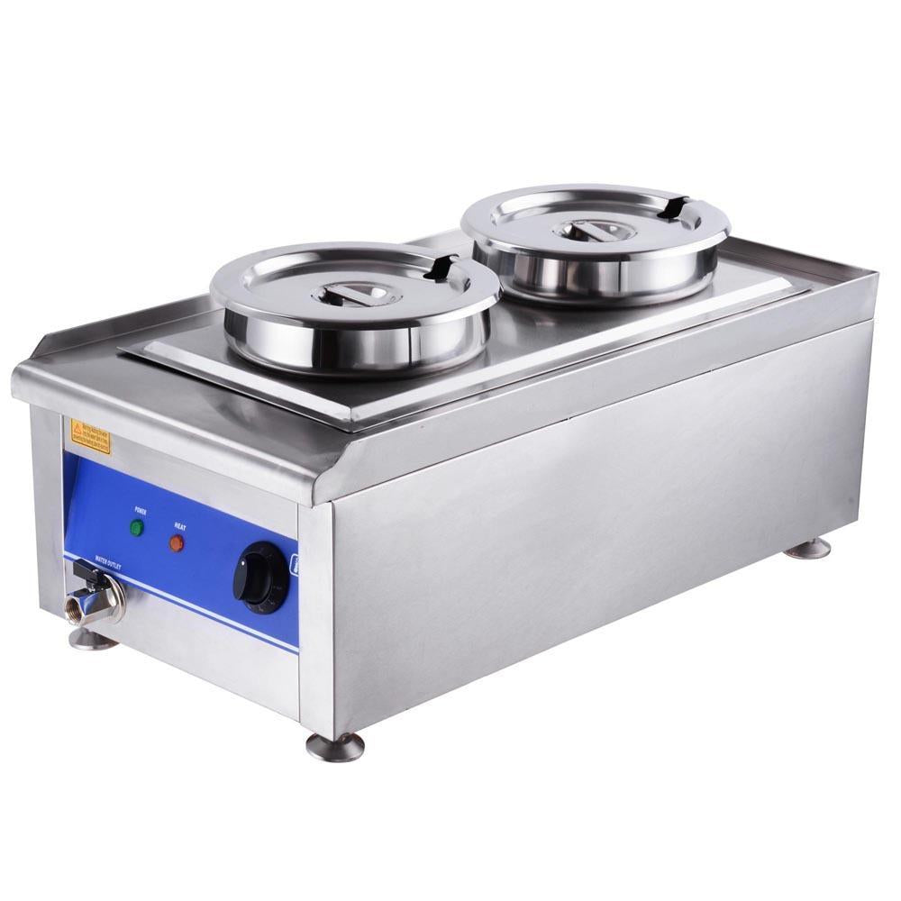 1200W Commercial Dual Countertop Steam Table Food Warmer Kitchen
