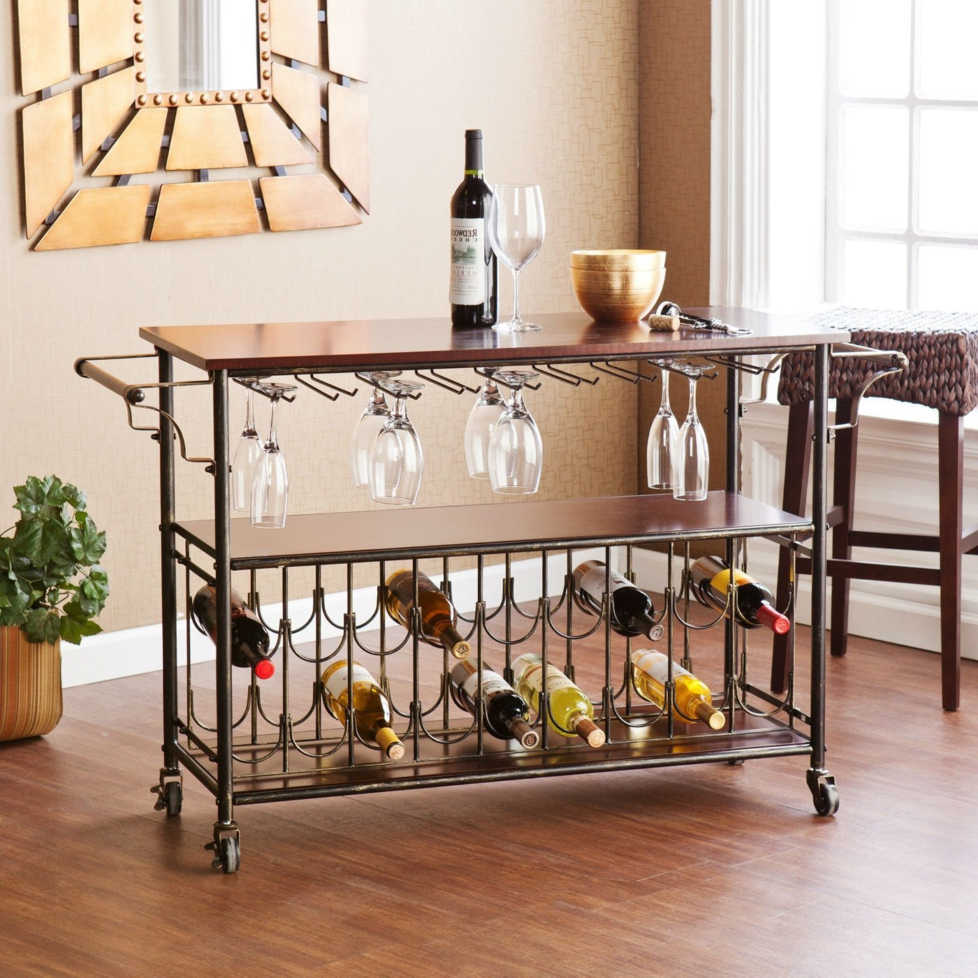 Wood Top Kitchen Island Wine Rack Cart with Storage Shelf