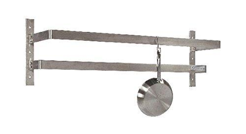 "Tarrison WPR48 Stainless Steel Wall Mount Pot Rack with 8 Hooks, 48"" Length x 12"" Height x 10-1/2"" Depth"
