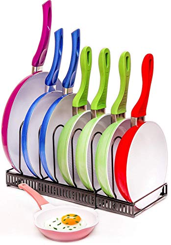 ComfyHouse Expandable Pots and Pans Organizer - Holds 7+ Pans & Lids to Keep Cupboards Tidy - Adjustable Bakeware Rack for Kitchen and Cabinets