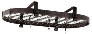 Enclume Premier Low-Ceiling Oval Pot Rack, Hammered Steel