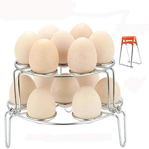 Foseal Stackable Egg Steamer Rack Trivet Instant Pot Accessories - Fits Instant Pot 5, 6, 8 qt Pressure Cooker - 2 Pack Stainless Steel Multi-purpose Racks and 1 Pot Dish Clip
