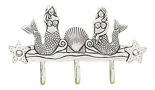 Basic Spirit Nautical Pewter Mermaid Triple Key Hook Wall Rack