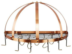 22 1/2 X 11 1/4 X 11 1/2 Satin Copper Pot Rack W/Grid & 12 Hooks