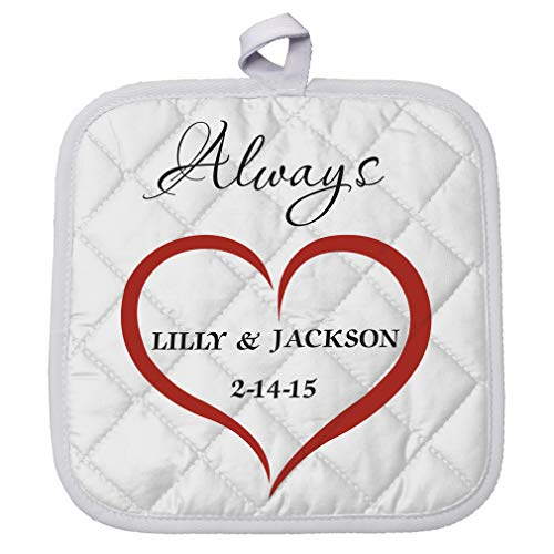 Personalized Custom Text Wedding Heart Love always Couple Polyester Pot Holder