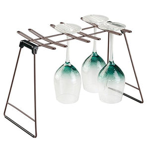 mDesign Freestanding Foldable Wine Glass and Stemware Drying and Display Storage Rack for Kitchen Countertop - Holds 6 Glasses, Non-Skid Feet, Folds Flat for Compact Storage - Bronze