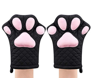 Feb.7 Oven Mitts,Cat Design Heat Resistant Cooking Glove Quilted Cotton Lining- Heat Resistant Pot Holder Gloves for Grilling & Baking Gloves BBQ Oven Gloves Kitchen Tools Gift Set BBQ,Microwave