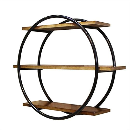 GJ-zsj Decorative Accessories Clothing Store Wall-mounted Storage Rack Shelf/Vintage Creative Solid Wood Bookcase Partition/Wall-mounted Circular Display Stand/Coat Rack 8015.566CM Floating Shelves