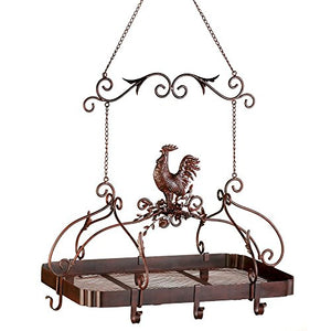 "Malibu Creations 57070373 12657 Country Rooster Kitchen Rack, 34"", Brown"