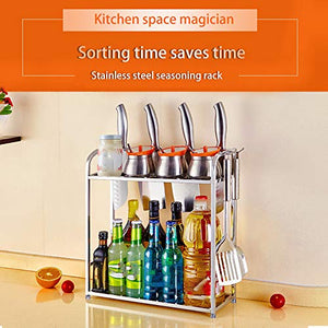 Coerni 2-Tier Standing Rack, Stainless Steel Kitchen Bathroom Countertop Storage Organizer Spice Jars Bottle Shelf Holder Rack