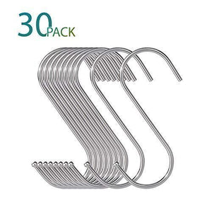 30 Pack Large S Shaped Hanging Hooks, S Hangers for Kitchen, Office, Bathroom, Cloakroom and Garden, Heavy Duty S Hooks by KRENDR