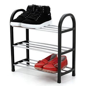 FKUO Shoes shelf Easy Assembled Light Plastic 3 Tier Shoe Rack Shelf Storage Organizer Stand Holder Keep Room Neat Door Space Saving