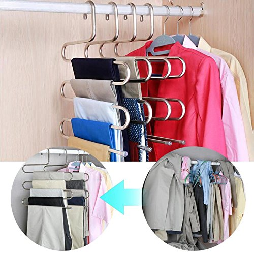Organizer Rack - Stainless Steel Trousers Hanger Multifunction Magic Clothes Closet Belt Holder Rack S Type 5 Layers - Sous Keys 20 Chalkboard Pot Compartments Door Hooks Plastic Lid
