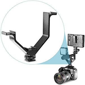 "Neewer Aluminium Alloy 5""/12.5cm V-Shape Triple 3 Universal Cold Shoe Mount Bracket for Nikon Canon Sony Pentax DSLR Camera or Camcorder Accessory Such as LED Video Light,Microphone,Monitor,Flash"