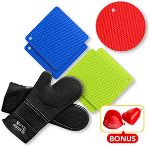 BONUS- 2 RED Pinch Mitt Holders| Silicon Oven Mitts and Pot Holders (7 Piece Set)- BLACK SILICONE OVEN MITTS|2 BLUE/2 GREEN SQUARE MATS|1 ROUND MAT 454 F Heat Resistant| Durable| Non-Slip