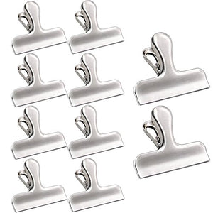 ESFUN Chip Bag Clip Set of 10 Stainless Steel Chip Clips,Strong & Large Metal Food Bag Sealing Clip for Air Tight Seal Grip on Coffee/Bread/Snack/Pet Food Bags,Kitchen Home Usage