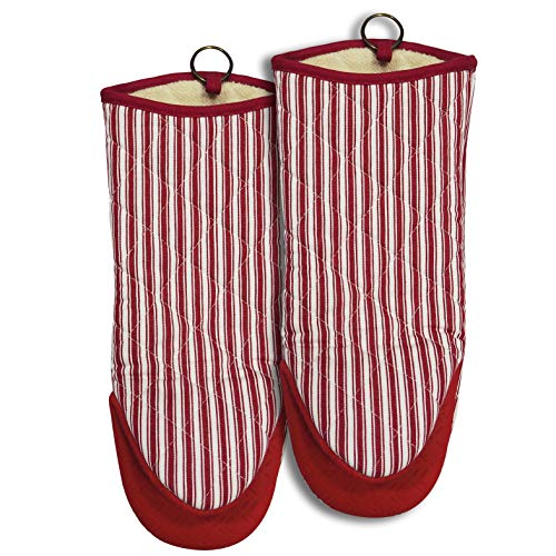 Oven Mitts 1 Pair Neoprene Handle Fade proof Yarn Dyed Striped Heat Resistant 470 Degree kitchen 100% Cotton Gloves Pot Holders Women Men Cooking Barbecue BBQ Microwave Machine Washable (Red1)