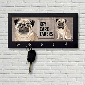 Nutcase Wooden Key Holder Hanger for Wall - Designer Key Chain Hanging Board Box - 5 Hooks Wall Mounted Key Rack - Screws Included - Cute Hip Pug