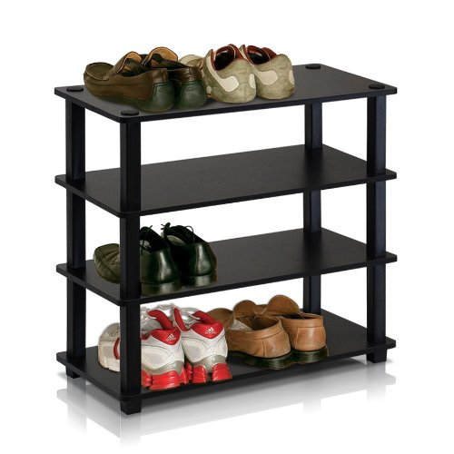 Furinno 13081EX/BK Turn-S-Tube 4-Tier Shoe Rack, Espresso/Black