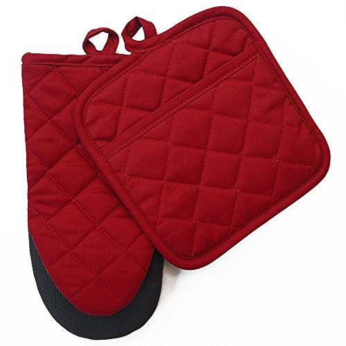Oven Mitt and Pot Holder 2pcs Set Kitchen Neoprene Non Slip Grip Heat Resistant Cotton Women Men Oven Glove Mitten Pocket Potholder Barbecue BBQ cooking baking Grilling Machine Washable (neoprene red)